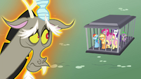 Discord looking at his pony friends S4E26