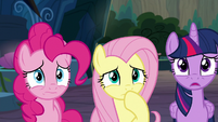 Pinkie, Fluttershy, and Twilight horrified S9E2