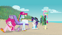 Pinkie, RD, Rarity, and Fluttershy on the beach EGFF