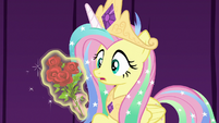Princess Celestia giving roses to Fluttershy S8E7