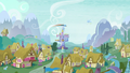 Rainbow Dash flying with Twilight's castle in the background S5E5.png