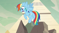 Rainbow Dash pointing at her tail S7E18