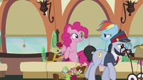 Rainbow looking serious at Pinkie S5E8
