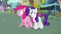 Rarity and Pinkie gasp at Fluttershy S2E19