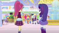 Rarity and Sour Sweet following their friends EGS1