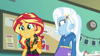 Trixie looking annoyed at Sunset Shimmer EGFF