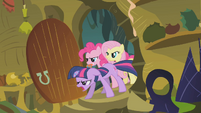 Twilight, Pinkie, and Fluttershy burst into the hut S1E09