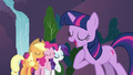 Applejack, Pinkie Pie and Rarity singing with Twilight S3E2.png