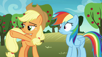 Applejack pointing toward Big McIntosh S8E5