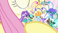 Breezies happy in Fluttershy's embrace S4E16.png