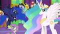 Celestia, Luna, and Spike looking at Twilight S7E1.png
