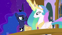 Celestia and Luna on the balcony together MLPBGE