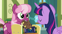 Cheerilee holds up another book; Twilight shakes her head S7E3