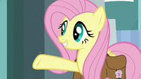 Fluttershy gestures to Dr. Caballeron S9E21