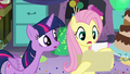"""Fluttershy reads """"But she's afraid of quesadillas"""" S5E11.png"""