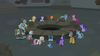 Mane Six and Pillars feeling the earth shake S7E26