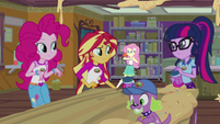Pinkie, Sunset, and Twilight look at Fluttershy EG4