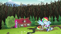 Pinkie Pie saves Rainbow Dash from the vines EG4