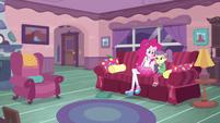 Pinkie Pie sits down next to Lily Pad EGDS3