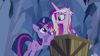 Twilight and Cadance mine cart S2E26