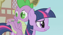 Twilight and Spike looking worried S1E09