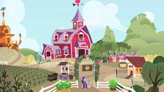 Файл:Twilight and Spike walking into Sweet Apple Acres S1E01.png