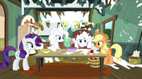 Applejack places apple in front of Yona S9E7
