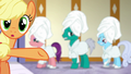 Applejack pointing to shivering ponies S6E10.png