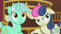 Lyra and Sweetie Drops hear the bugbear S5E9