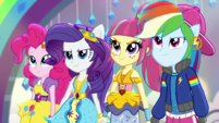 Pinkie, Rarity, Sour Sweet, and Rainbow hand-in-hand EGS1