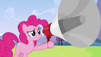 Pinkie Pie after shouting in megaphone S3E7