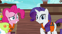 Pinkie and Rarity grinning at Applejack S6E22