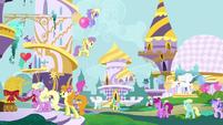 Ponies preparing for the Summer Sun Celebration S4E01