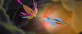 Rainbow Dash diving toward the airship MLPTM