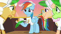 Rainbow Dash looking happy at grannies S8E5