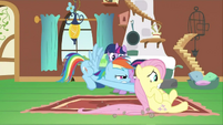 Rainbow Dash pushing Fluttershy S2E21