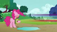 Rainbow Dash speeds away from Pinkie S6E15