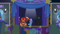 Trixie presents the pony-eating manticore S6E6