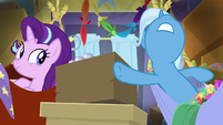 Trixie trying to get out of her hammock S8E19
