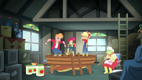 AJ, Apple Bloom, and Mac stomp on apples EGROF