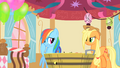 Applejack chuckling at Rainbow Dash's find S1E25.png