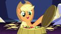 Applejack opening a barrel of apples S5E03.png