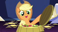 Applejack opening a barrel of apples S5E03