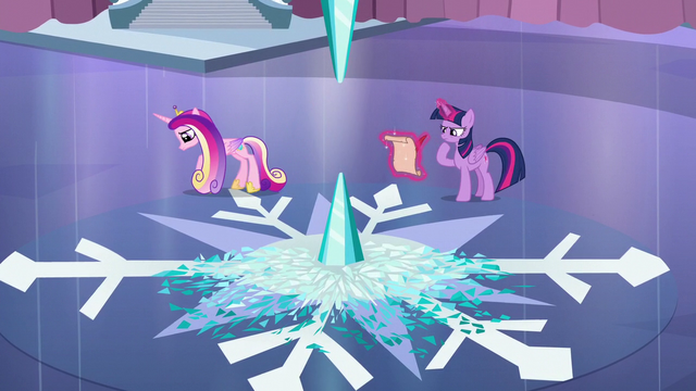 File:Cadance paces back and forth; Twilight writing the spell S6E2.png