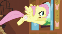 Fluttershy flying out the cottage window S5E23
