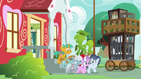 Foals leaving the Ponyville Schoolhouse S9E12