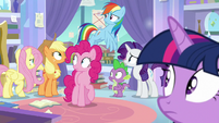 Mane Six and Spike hear a noise outside S9E25