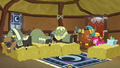 Pinkie, Rutherford, and yaks in yak sleeping hut S7E11.png