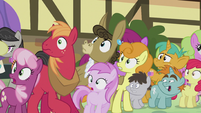 Ponyville ponies looking at the monster S5E9