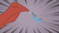Rainbow Dash bucks dragon's snout S01E07